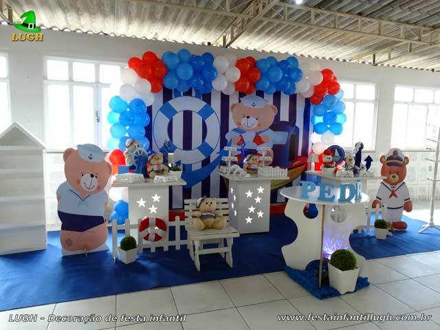 Mesa provençal simples - Decoração de aniversário infantil Ursinho Marinheiro