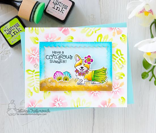 Summer Beach Corgi Dog Card by Tatiana Grafimovich | Corgi Beach Stamp Set, Framework Die Set, Hills & Grass Stencil and Hibiscus Stencil Set by Newton's Nook Designs #newtonsnook #handmade