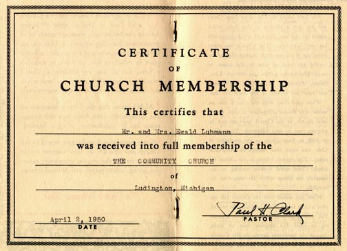 Church Membership Certificate Template - sample membership certificate