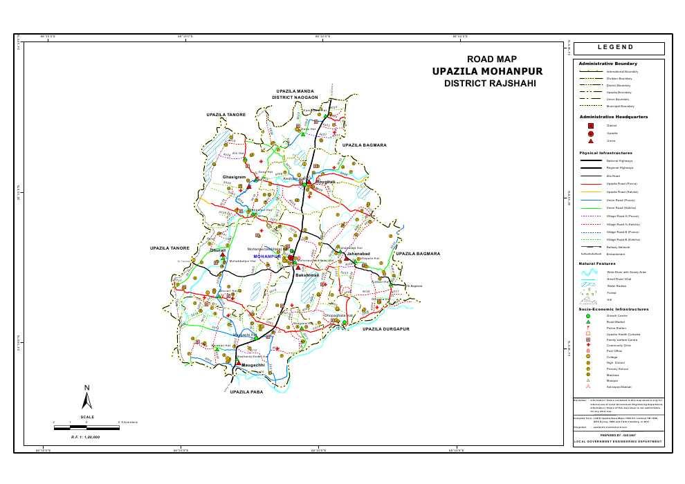 Mohanpur Upazila Road Map Rajshahi District Bangladesh