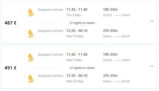 Flight deals Zurich to Vietnam under 500 euro in May 2018