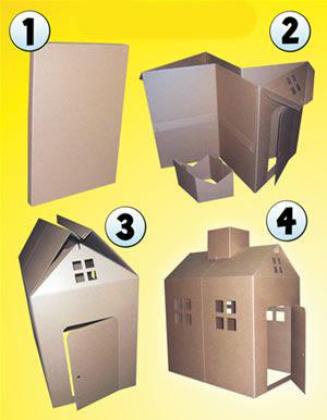 paso a paso para hacer una casita de carton para niños