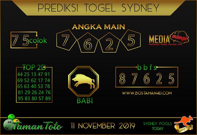 Prediksi Togel SYDNEY TAMAN TOTO 11 NOVEMBER 2019