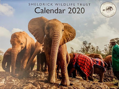 Sheldrick Wildlife Trust calendar for 2020, with a photo of elephants