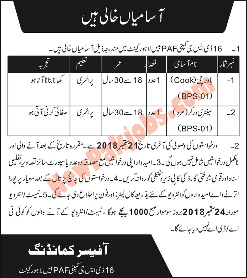 Cook & Sanitary Worker Required  In 16 DSG Company PAF Base Lahore Cantt