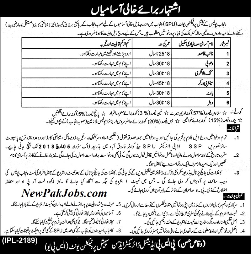 Join Punjab Police Special Protection Unit SPU Latest Jobs Today 2018