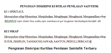 Pengisian Diskripsi Kurtilas Penilaian Saintafik Terbaru