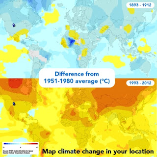 Global temperature map of the last 20 years compared to 100 years earlier
