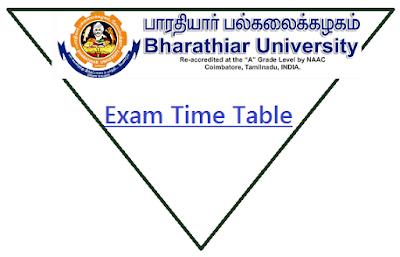 Bharathiar University Time Table Nov 2018