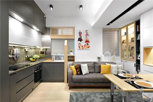 Cum integrezi 3 camere, 2 băi și o bucătărie într-un apartament de 58 m²