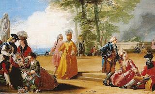 Grupos de damas y caballeros charlando, ellas sentadas y ellos de pie, con coloridas vestimentas.