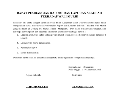 Contoh Surat Undangan Pembagian Raport Serta Berita Acara