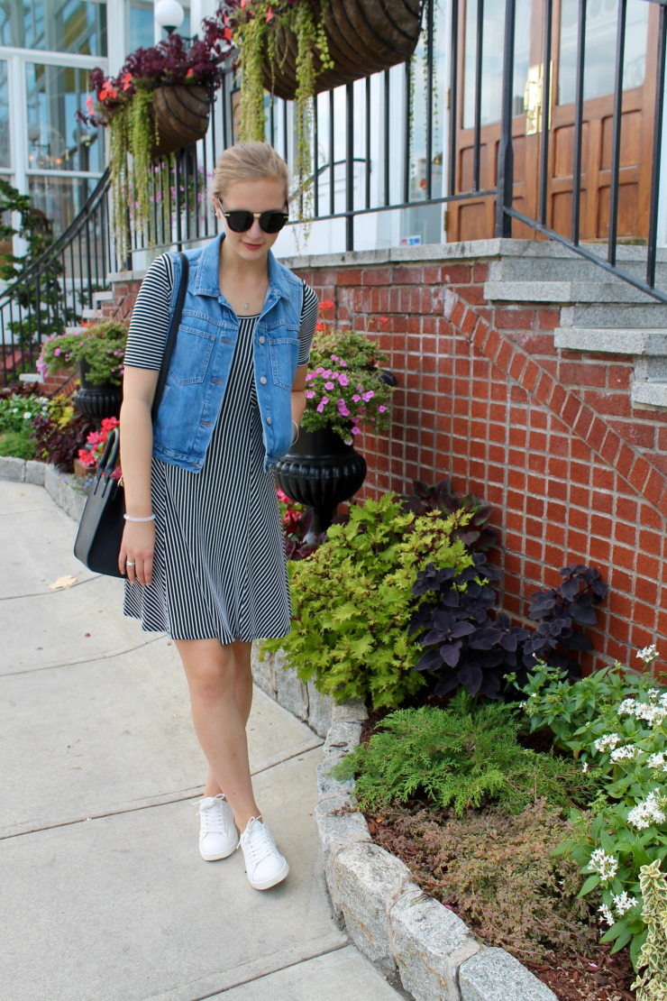 Madewell jean vest, striped dress and white trainers
