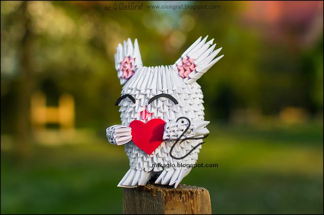 429. Myszoskoczek z sercem / 3d origami little mouse