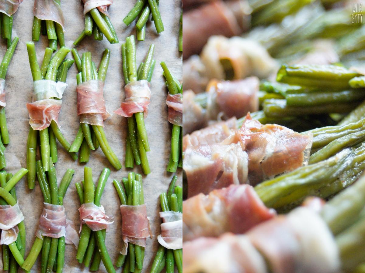 zielona fasolka, fasolka szparagowa, szynka parmeńska, przekąska, przystawka