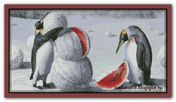 Пингвины и снеговик...