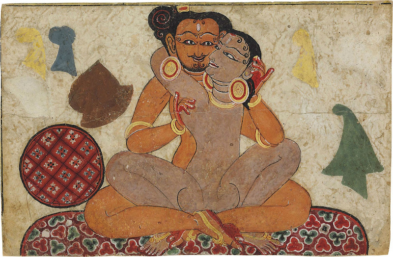 Amorous Couple Making Love on a Cushion - Miniature Painting, Nepal, 15th Century