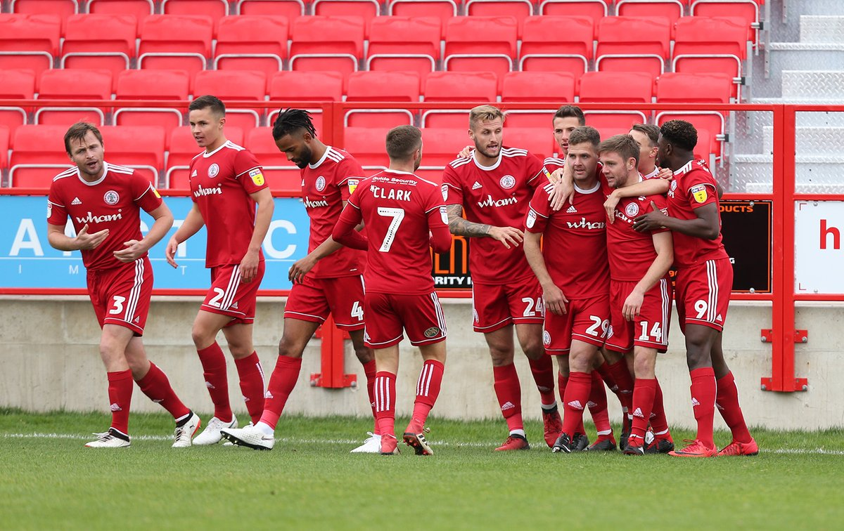 Accrington Stanley players celebrates Billy Kee's goal against Wimbledon