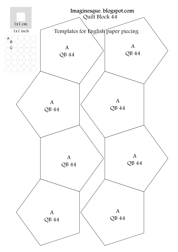 Imaginesque quilting block 44 pattern templates for for Free english paper piecing hexagon templates