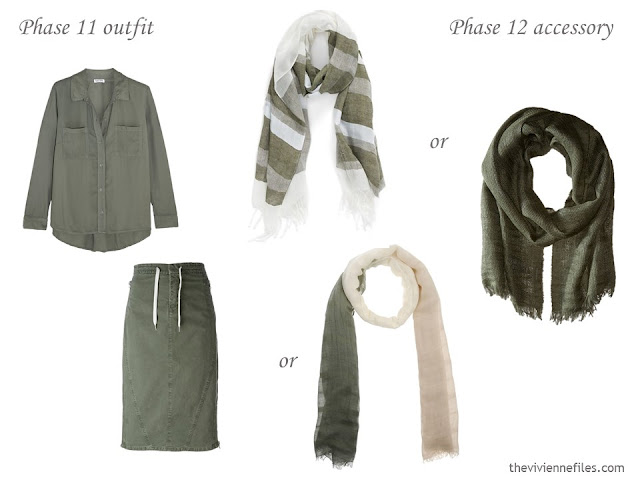 How to Add Accessories to a Capsule Wardrobe: Olive, White, Tomato and Mustard - scarves