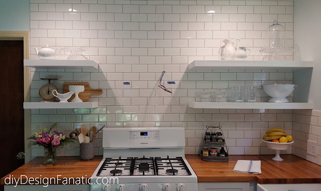 Open shelves, wood countertops, kitchen reno, mountain cottage, cottage style, cottage kitchen, farmhouse style, farmhouse, white kitchen, subway tile, cottage style, cottage kitchen