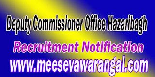 Deputy Commissioner Office Hazaribagh Recruitment Notification 2016 hazaribag.nic.in