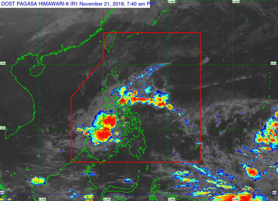 Satellite image of Tropical Depression 'Samuel' as of 7:40 am on Wednesday, November 21