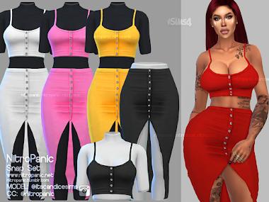 Snap Set Tops, Skirt Long & Skirt Short for The Sims 4
