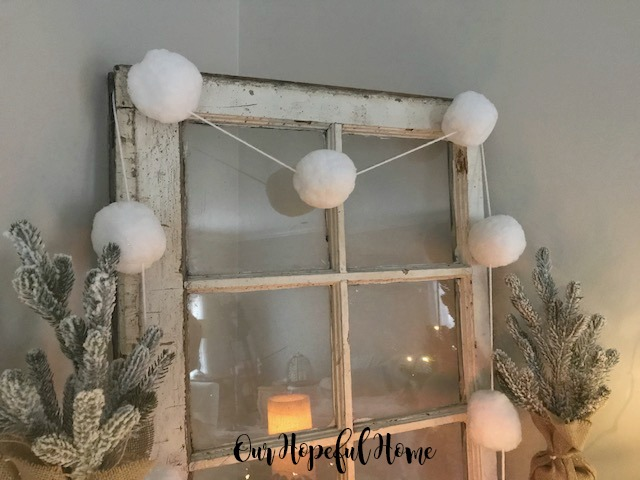 white pom poms garland vintage window mantel decor mini Christmas trees