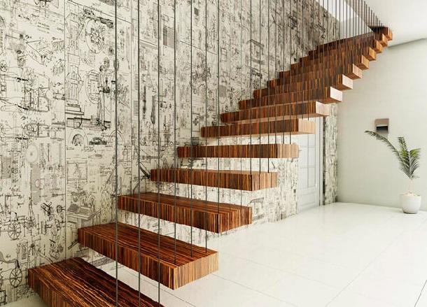 деревянные ступени лестницы на консолях