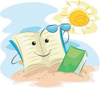 Clipart Image of a Book at the Beach