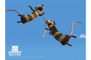 The two possum brothers jumping in the air in Ice Age: The Meltdown animatedfilmreviews.filminspector.com