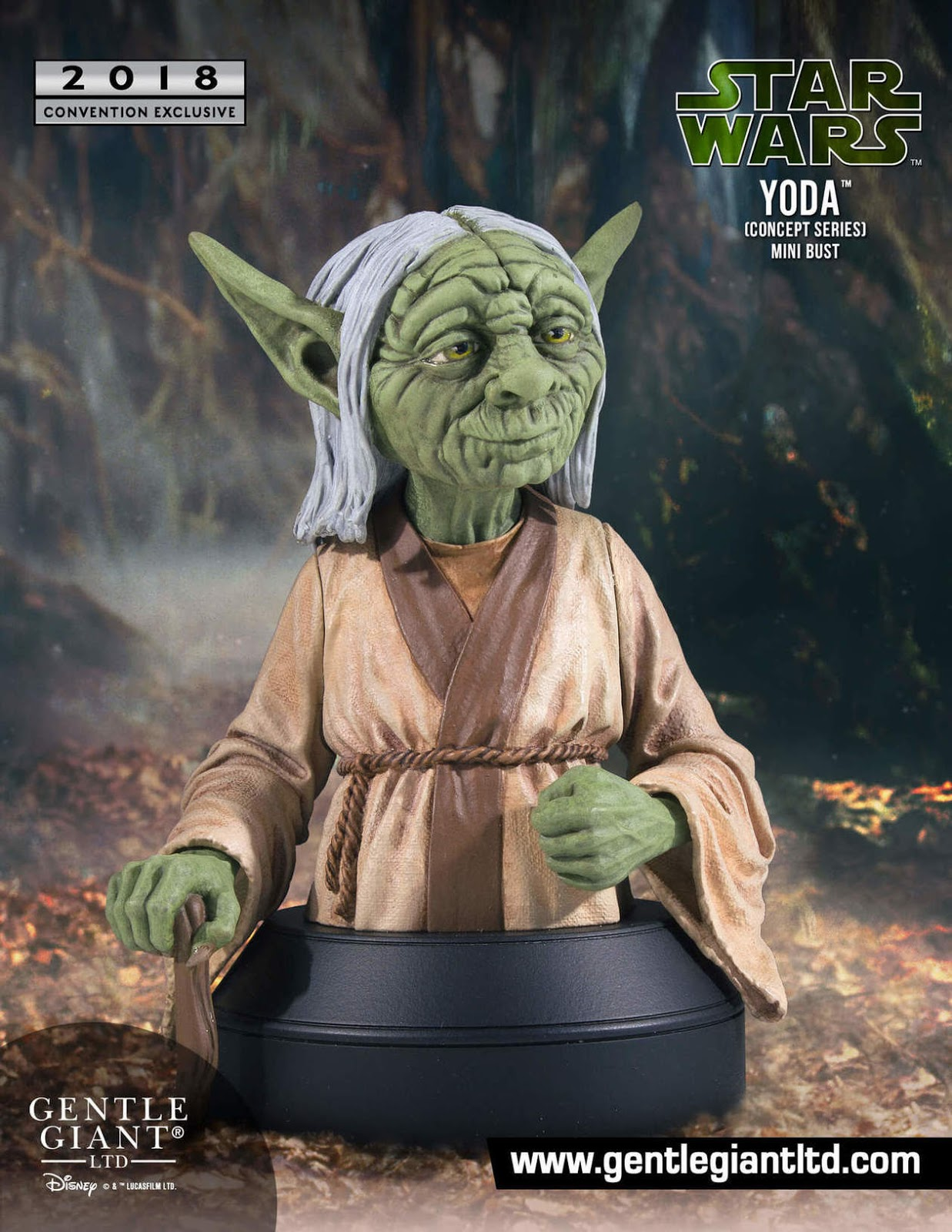 7714fc3ef5c4 San Diego Comic-Con 2018 Exclusive Star Wars Yoda Ralph McQuarrie Concept  Art Mini Bust