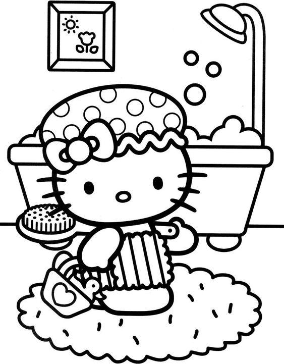 Tranh tô màu mèo hello kitty đi tắm