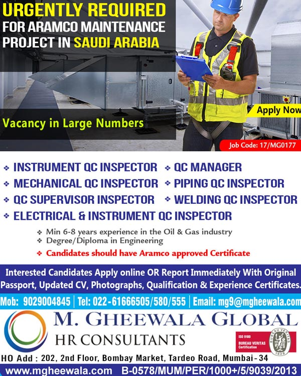 jobs  saudi aramco project urgent requirement  gheewala global hr consultants job