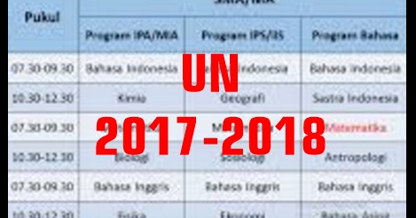 Jadwal Penetapan Ujian Nasional Un Tahun 2017 2018 Sd Smp Mts Sma Smk Ma Dunia Pendidikan