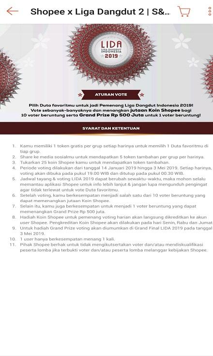 Syarat dan Ketentuan Aturan Vote LIDA di Shopee.