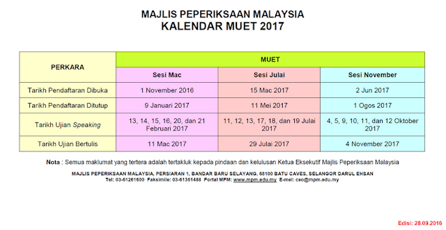 Borang Pendaftaran Peperiksaan MUET Julai 2017 Online
