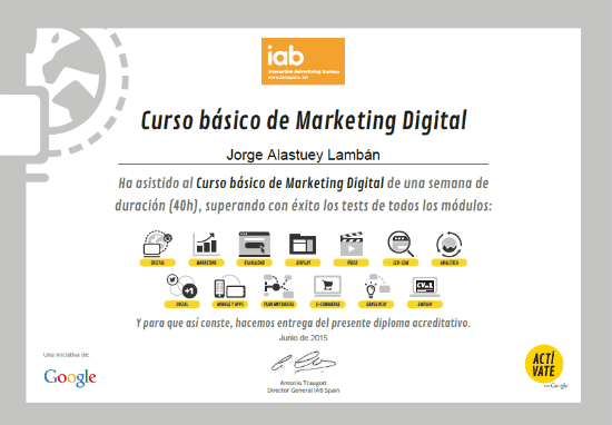certificacion / diploma de Google por curso de marketing digital