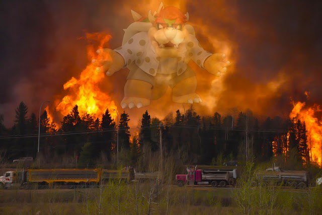King glasses Bowser Rick Perry Mario Party Alberta wildfire Canada fire