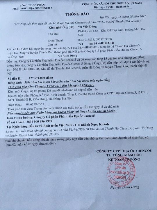 Thông báo đóng tiền đợt 4 tòa B1.4 HH02 Thanh Hà