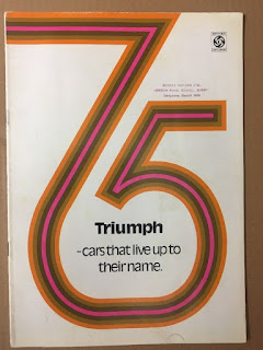 Bexhill Motors Ltd dealer address stamp on Triumph 1975 brochure