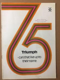Bexhill Motors Ltd dealer address stamp on Triumph 1975 brochure