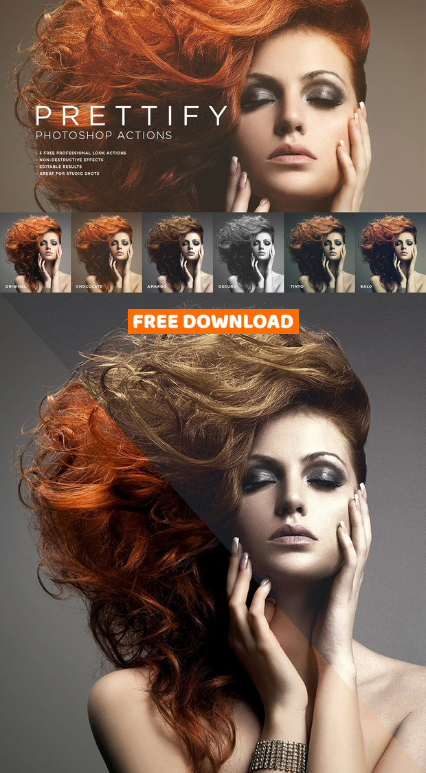 Prettify Photoshop Actions Freebie, free Photoshop actions