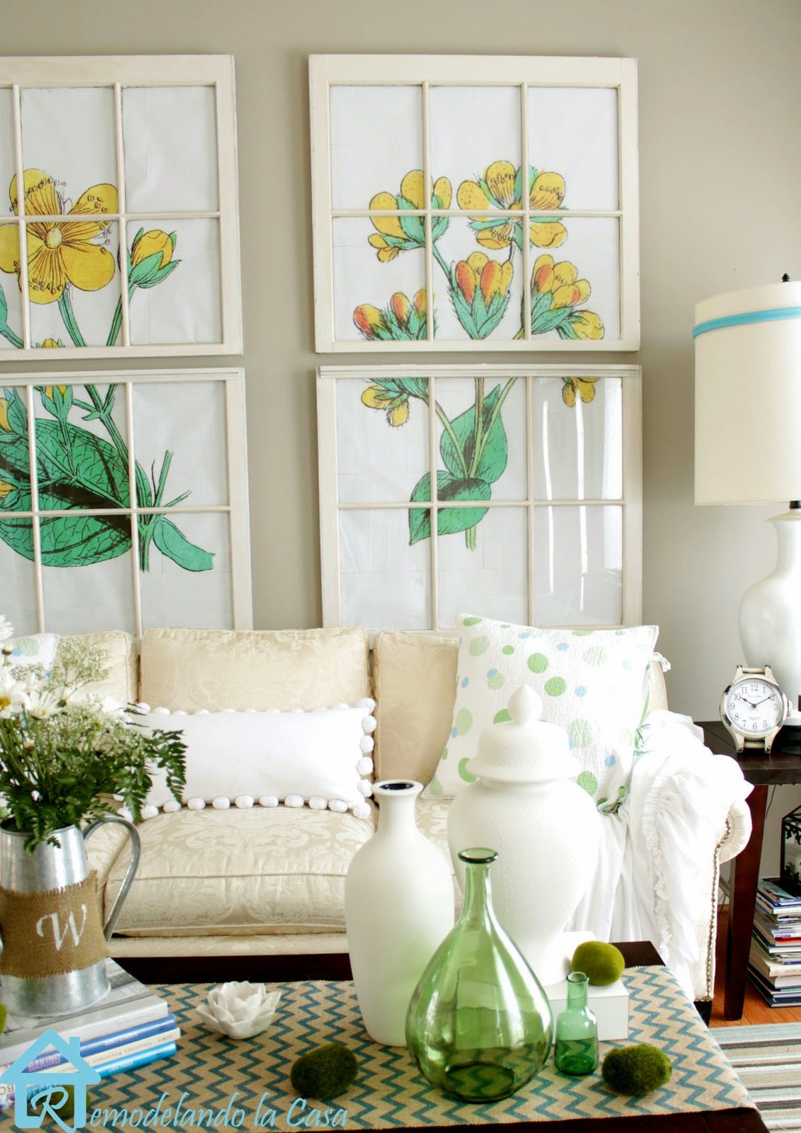 living room decorated for Spring with big flower art