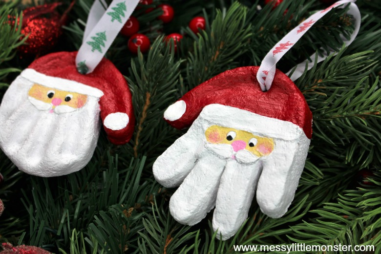 santa hanprint christmas craft for kids