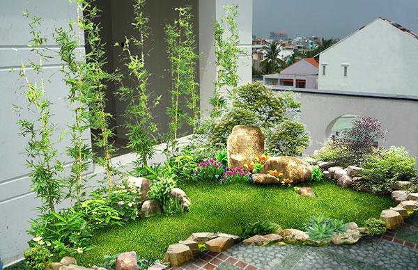 Kết hợp tiểu cảnh sân vườn với hàng rào dành cho biệt thự