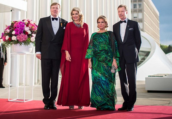 Queen Maxima wore Valentino silk dress. Princess Stephanie wore Elie Saab gown, Duchess Maria Teresa wore a custom made Elie Saab gown