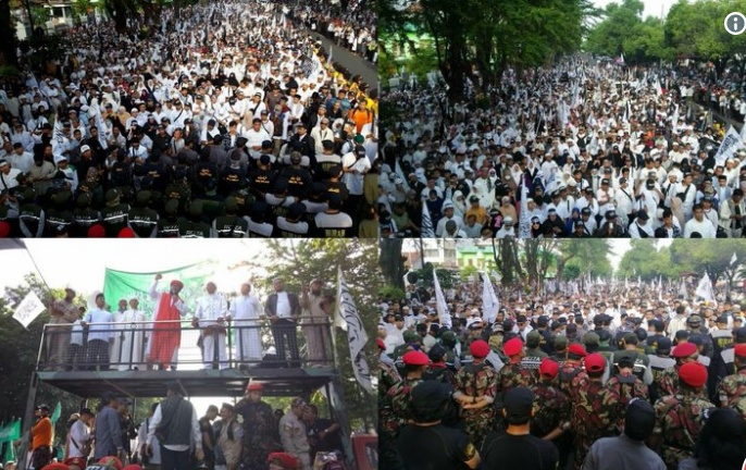 Meski Dihalangi Polisi, Puluhan Ribu Warga Solo Raya Hadiri Tabligh Akbar 212 Parade Tauhid