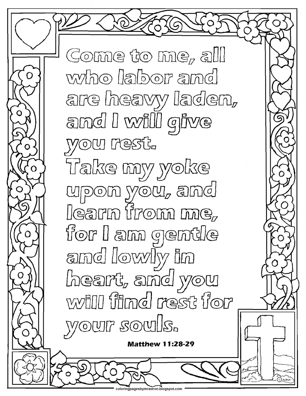 Coloring Pages for Kids by Mr. Adron: Matthew 11:28-29 Print and ...